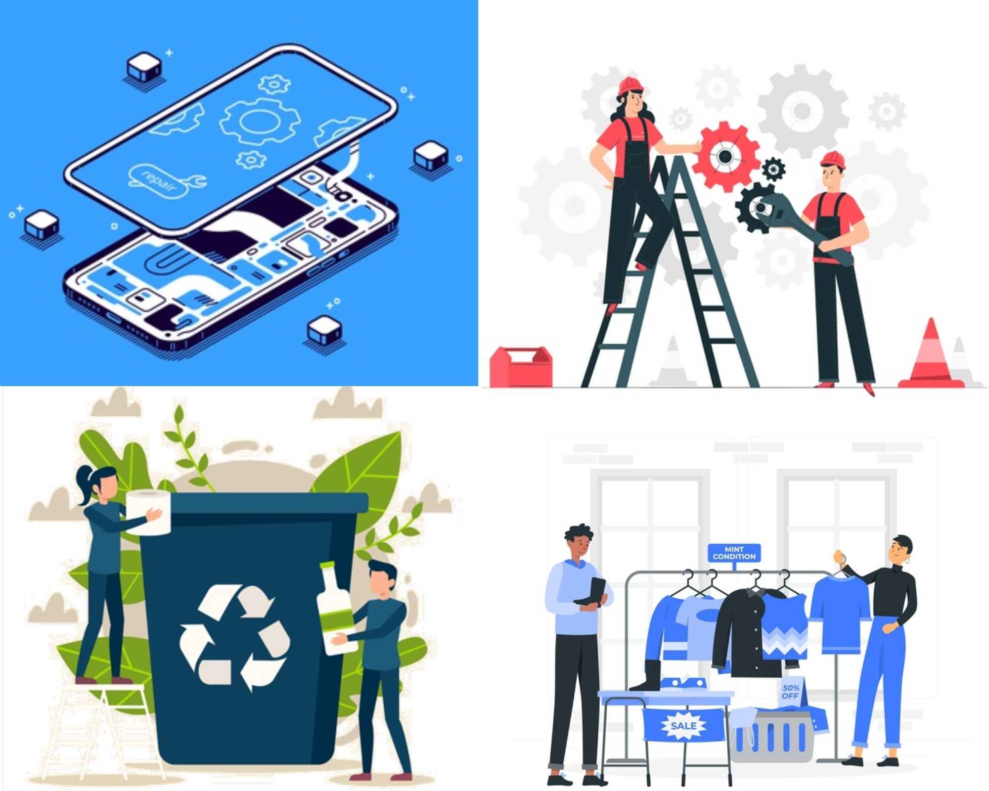 Re-use, Recycle, Redesign, repaire, circular economy, social economy